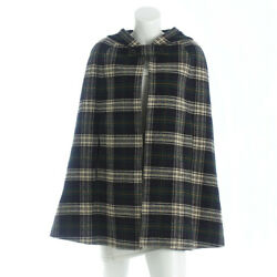 AUTHENTIC SAINT LAURENT CHECKERED WOOL PONCHO GREEN & BLUE 34 GRADE A USED - HP