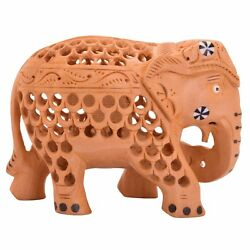 Elephant Figurine Hand Carved Wood Statue Sculpture Modern Decorations 5 Inch $18.99