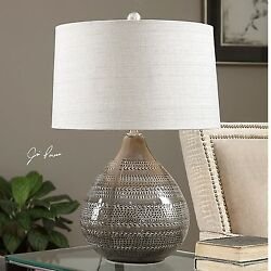 Textured Taupe Ceramic Brown Table Lamp Large Tribal Pottery $239.80