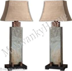 Luxe STONE and COPPER Tall Table LAMP PAIR Set Outdoor Patio Art Deco Horchow