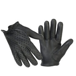 Men#x27;s Black Premium Perforated Leather Police Short Tactical Shooting Gloves $25.95