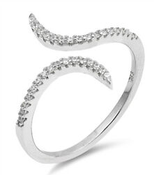 Open White CZ Criss Cross Adjustable Ring .925 Sterling Silver Band Sizes 4 10 $14.79