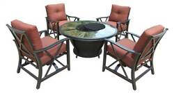 5-Pc Round Gas Firepit Table Set in Antique Bronze [ID 3684332]