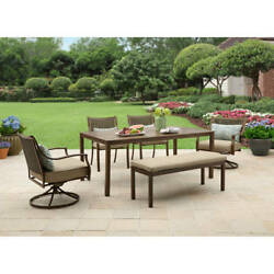 Patio Dining Set 6Pcs UV-Treated Table Porch Steel Frame 6Seat Outdoor Furniture