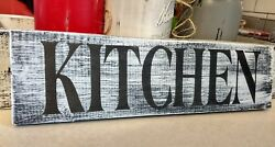 farmhouse wood sign KITCHEN wooden rustic farm country 3.5x12 shelf sitter decor $14.99