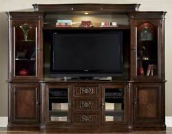 Entertainment Center with Piers in Cherry Finish [ID 3166374]