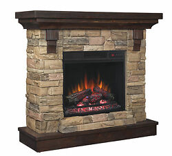 Stacked Stone Electric Fireplace Classic Flame Eugene 45