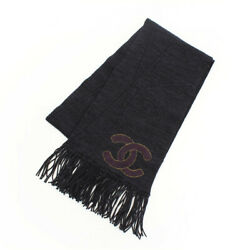 AUTHENTIC CHANEL WOOL CASHMERE COCO MARK SCARF 09A NAVY GRADE A USED-AT