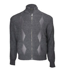 Billionaire Couture Men's Grey Merino Wool Cardigan Sweater Leather inserts