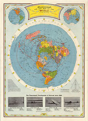 Flat Earth Air Age Map of the World 1948 Wall Art Poster Print Home Decor Office $19.50