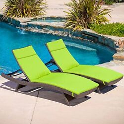 Adjustable Outdoor Chaise Lounge Chair Set for Garden Pool Side Set of 2