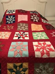 Colorful Quilt Country Primitive 3-D Star Floral Handmade NEW