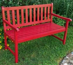4-Foot Painted Wooden Garden Bench in Red [ID 3185290]