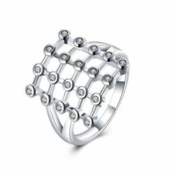 Fashion 925Sterling Solid Silver Jewelry Crystal Geometry Rings For Women R837