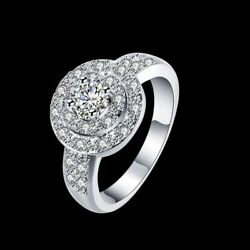 Fashion 925Sterling Solid Silver Jewelry Crystal Pretty Rings For Women R823