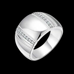 Fashion 925Sterling Solid Silver Jewelry Crystal Geometry Rings For Women R777