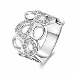 Fashion 925Sterling Solid Silver Jewelry Crystal