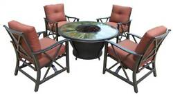 Round Gas Firepit Table Set in Antique Bronze Finish [ID 3684278]