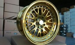 BRAND NEW WHEELS SET 4x100114.3 GOLD CHROME 15x8 HOT STYLE STANCE JDM GERMAN