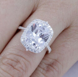 5ct Cushion Cut Sterling Silver CZ Engagement Ring Wedding Band Size 3-15 SE78A
