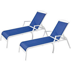 Patio Chaise Lounger Set Of 2 Outdoor Pool Sturdy Chair Adjustable Furniture