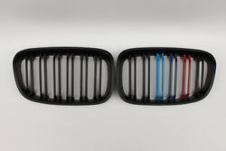 New 2Pcs For BMW 1 Series F20 12-14 2 Slat 3 Color Front Grille Matte Black ABS