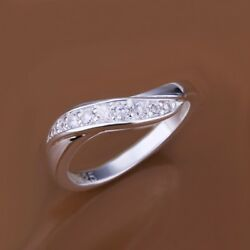 Fashion 925Sterling Solid Silver Jewelry Crystal Easy Rings For Women R159