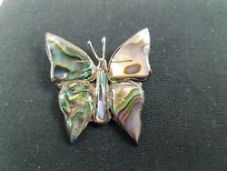 Vintage Taxco Mexico Sterling Silver Abalone Inlay Butterfly Brooch Pin Marked
