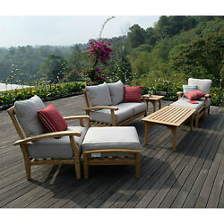 Teak Patio Furniture Outdoor 7 Pc Set Seating Beige Cushions Weather Resistant