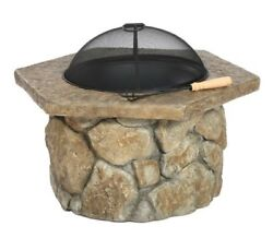 Fire Pit Wood Burning Pits Firepit With Screen Protector Outdoor Backyard Heater