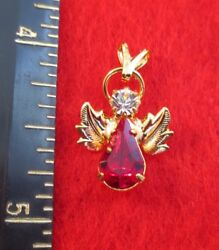 14 KT GOLD PLATED BIRTHSTONE 12 MONTHS CRYSTAL ANGEL CHARM PENDANT $7.46