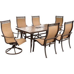 Patio Dining Set Garden Furniture Large Table Outdoor 4 Chairs 2 Swivel Rockers