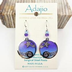 Adajio Earrings Night Sky Disc with Stars Over Waves Overlay Sterling Hook 7884 $21.45