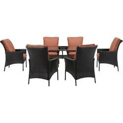 Patio Dining Set Garden Furniture Outdoor 6 Chairs Table Glass Top 7pcs Wicker