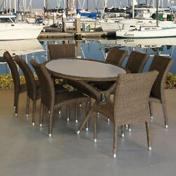 Patio Dining Set Garden Furniture Outdoor 8 Chairs Oval Table Glass 9pcs Wicker