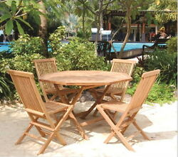 Teak Tiki Bistro Set Folding 5 pc Patio Deck with 47 inch Dining Table