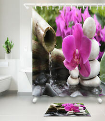 Waterpoof Fabric Bathroom Fountain orchid Spa Zen Stones Shower Curtain amp; Hooks $26.50