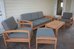 A-Grade Madras Teak Wood 6 pc Outdoor Garden Patio Large Sofa Lounge Chair Set