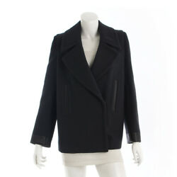 AUTHENTIC HERMES LEATHER PIPING WOOL MIDDLE COAT CHARCOAL GREY GRADE A USED - AT