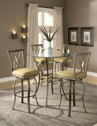 Bar Height Bistro Table - Beveled Glass Top and 4 Stools [ID 17961]