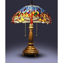 23#x27;#x27; Tiffany Style Red Dragonfly Table Lamp Stained Glass Desk Light Handcrafted $149.95