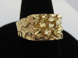 MENS 14 KT GOLD PLATED DESIGNER NUGGET #1 SQUARED OFF RING  SIZES 6-13
