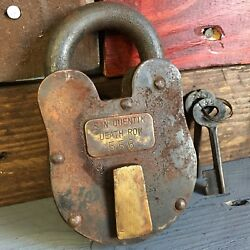 San Quentin Death Row 3quot; x 5quot; Cast Iron Working Lock amp; Keys Rusty Antique Finish $39.99