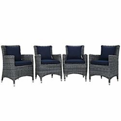 Modway Summon Collection EEI-2314-GRY-NAV-SET 4 PC Outdoor Patio Dining Set with