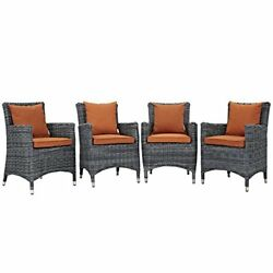 Modway Summon Collection EEI-2314-GRY-TUS-SET 4 PC Outdoor Patio Dining Set with