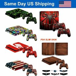 Sony PS4 Slim Vinyl Sticker Decal Console + Controller Skin Cover wLight Bar