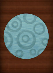 Blue Transitional Bubbles Rings Area Rug Circles DV5