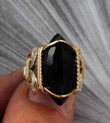 Large Black Onyx Gemstone Ring in Sterling Silver 14kt Rolled Gold Size 5 to 15
