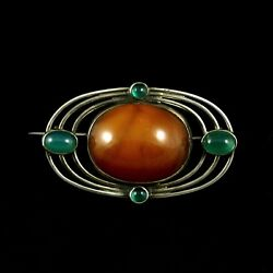 Otto Strange Friis. Silver Brooch with Amber and Green Agates. 1920s