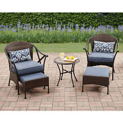 Outdoor Bistro Set 5 Piece Cushion Chairs Ottomans Patio Garden Table Furniture